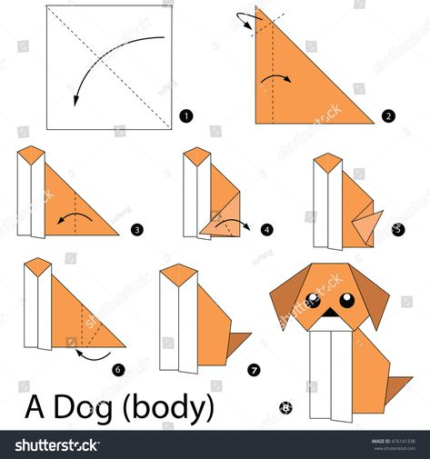 Step by step instructions how to make origami Vector Image | 505x473