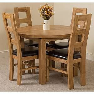 Edmonton Solid Oak Extending Oval Dining Table With 4 Yale Solid Oak Dining Chairs Light Oak And Brown Leather Edmdin01 Yaldco01x4 In 2020 Solid Oak Dining Table Oak Dining Sets Dining Table