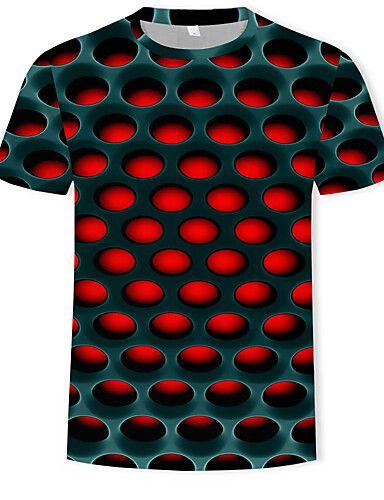 273b25e3228 Men's Cotton T-shirt - Geometric / Color Block / 3D Print Round Neck ...