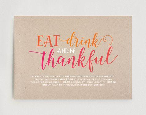 Thanksgiving Invitation, Friendsgiving Invitation, Printable Invitation, Thanksgiving Dinner Invite, Party, Instant Download #BPB167