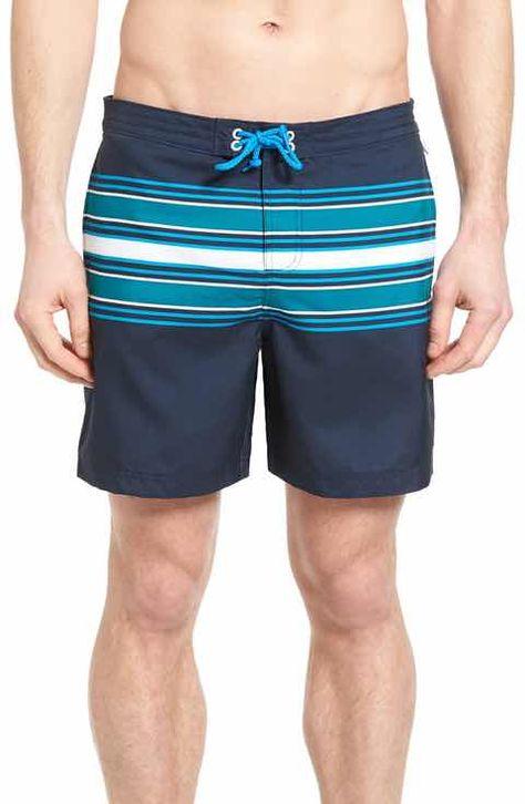 Mens Swim Shorts Quick Dry Swim Trunks Curling Rocks Mens Bathing Suits with Mesh Lining