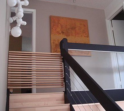 Custom Modern Wood Slat Staircase Safety Gate I Think This Is Actually A Ladder For Children To Climb Baby Gate For Stairs Diy Baby Gate Baby Safety Gate