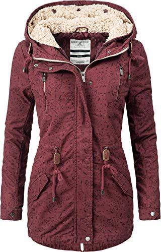 Urban Surface Damen 2in1 Winter Longjacke mit Kapuze Rot