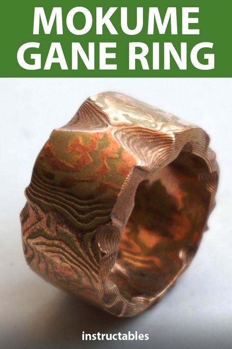 This unique layered mokume gane-style engagement ring is made from brass, copper, and nickel.  #Instructables #jewelry #metalworking #wedding #workshop
