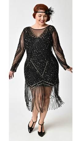 Black & Gold Plus Size Beaded Sheer Long Sleeve Betty ...