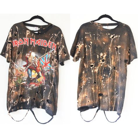 Iron Maiden Trooper starry sky Bleached/Distressed Band Tee S-XL... ($50) ❤ liked on Polyvore featuring tops, t-shirts, brown shirt, torn t shirt, ripped shirt, destroyed t shirt and star t shirt