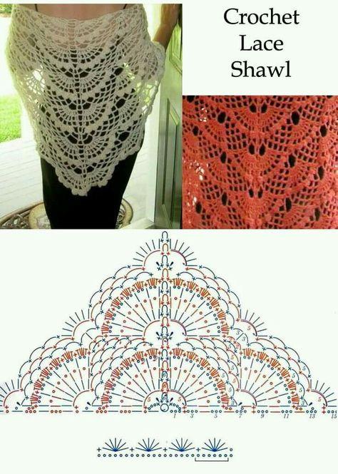 grilles de châle au crochet (6) | Sjaals | Pinterest | Chal, Ponchos ...