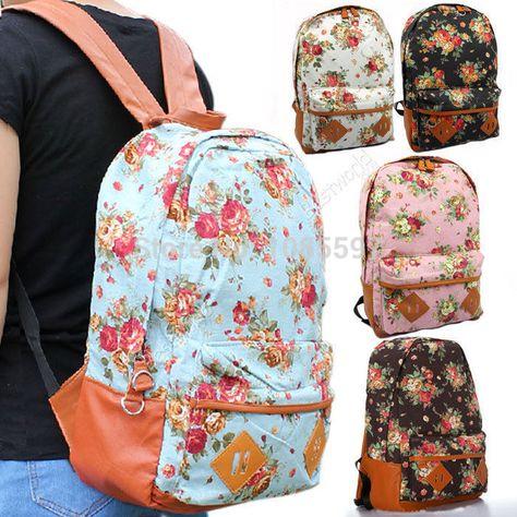 283f42b921 Pas cher 2015 l'arrivée de nouveaux femmes fleur imprimé Floral épaule sac  d'école des femmes toile sac à dos pour adolescent filles livraison  gratuite, ...