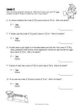 Introduction to Density Worksheet | Ahaana Grade 5 | Density ...