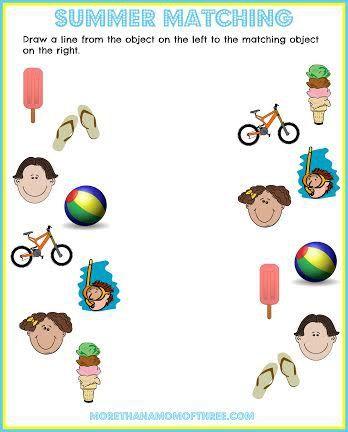 Summer Activity Sheet Printable Matching Game Printable For Kids