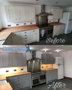 Spraying Kitchen Cabinets Professional Spray Painting Kitchen Cabinets Spraymasters Uk Upcycle Kitchen Kitchen Cabinets Upcycled Kitchen Cabinets