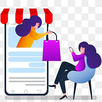 Online Shopping Concept Flat Illustration With Two Woman Internet Clipart Digital Security Png And Vector With Transparent Background For Free Download Flat Illustration Illustration Concept