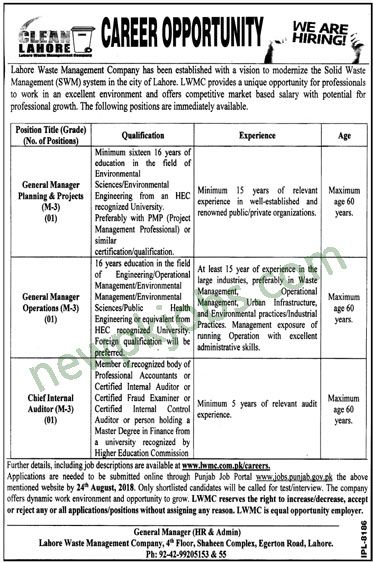 General Manager and Chief Internal Auditor Jobs 2018 in