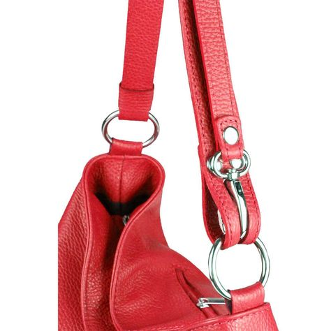 Echt Leder Beuteltasche Schultertasche Rot Beutel Made in Italy Shopper