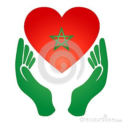 I Love Morocco And The Heart Of The Hand Flag Of The Kingdom Of Moroccon My Love Vector Illustration Morocco