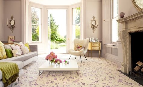 Purple, green, white living room.
