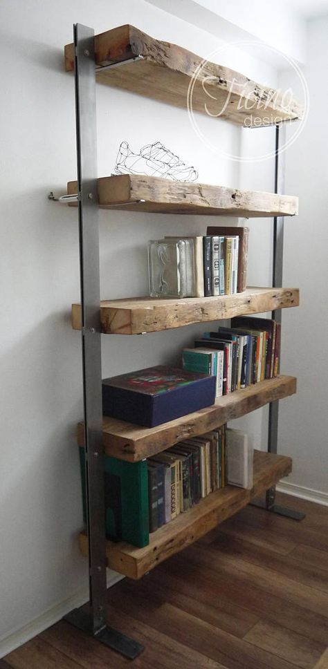 Reclaimed Wood Bookcase Wood And Metal Shelves Industrial Shelving Unit Rustic Wood Shelves Book Shelves Industrial Furniture Bucherregal Aus Holz Holzregale Scheunenholz