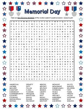 Memorial Day Word Search 50 Words 50 Words Memorial Day Word