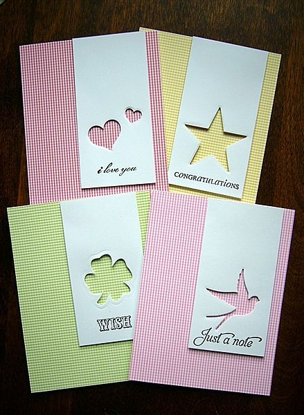 handmade notecard set ... clean and simple design ... gingham print base card ... panel with a negative die cut space and a sentiment ... like asymmetrical placement ... lovely cards ...