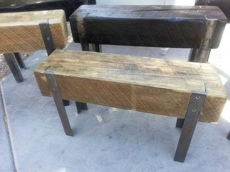 Upcycled Wood Beam And Angle Iron Bench Hergebruikt Hout Houten Bank Schuurhout