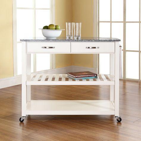 wildon home kitchen cart with granite top 2 drawers reviews rh pinterest es