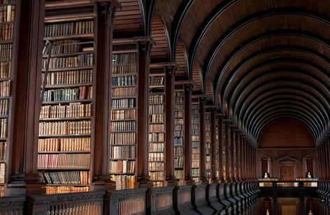 Focus on a college library known as The Long Room. This magnificent library belongs to the Trinity College, in Dublin. It's the largest library in Ireland Types Of Aesthetics, Different Aesthetics, Book Aesthetic, Aesthetic Pictures, Cream Aesthetic, Aesthetic Outfit, Aesthetic Dark, Aesthetic Bedroom, Aesthetic Collage