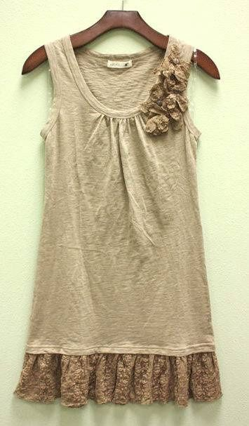Lace ruffle and lace detail at neck- for shirts that are too short.  Cute way to dress up a simple shirt!