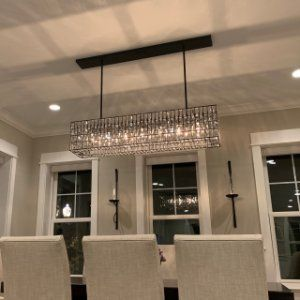 Adeline Crystal Rectangular Chandelier Gold Chandeliers Dining
