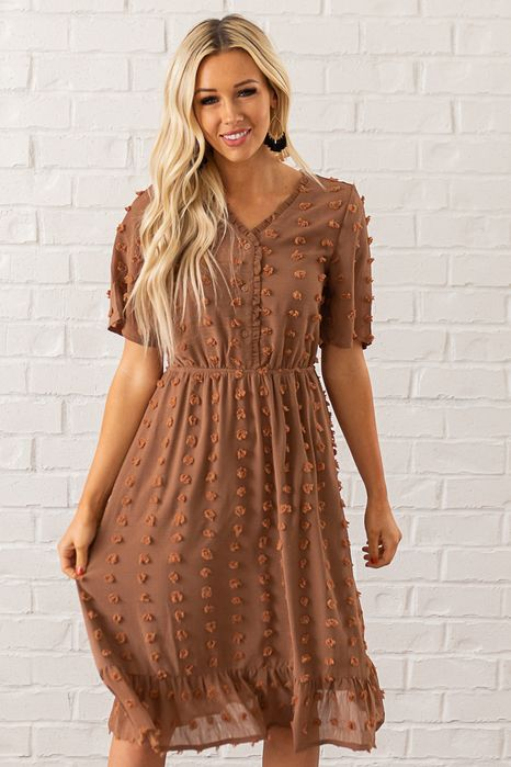 This Stunning Rust Colored Dress By Pologram Is The Perfect Modest Winter Dress For Women It S Womens Boutique Dresses Nursing Friendly Dress Rust Color Dress