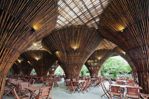 For The Restaurant S Nontraditional Support Structure Vo Trong Nghia Architects Leveraged The Mech Bamboo Architecture Modern Architecture Design Architecture
