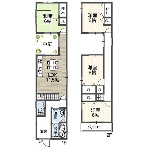 大きな中庭のある家パティオ アートホーム株式会社 2世帯住宅の
