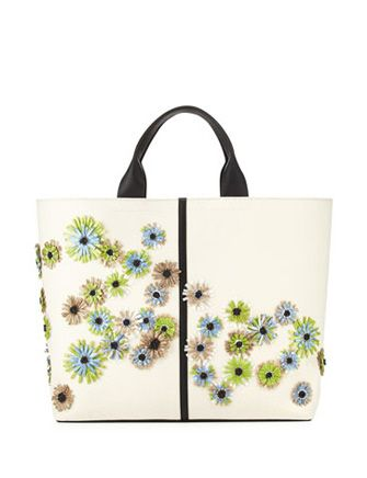 REED KRAKOFF Floral Track Leather Tote Bag