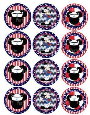 Mickey Sailor Cupcake topper Tag Sticker Label