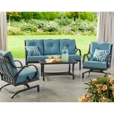 Member S Mark Harbor Hill 4 Piece Deep Seating Set Cast Lagoon In