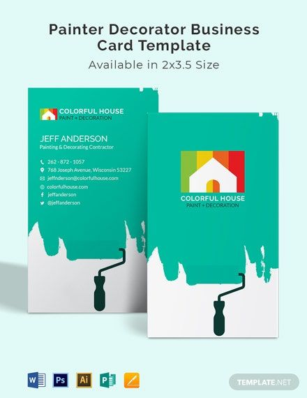 Painter Decorator Business Card Template Word Doc Psd Apple Mac Pages Illustrator Publisher Cartao De Visita Carta Pintor