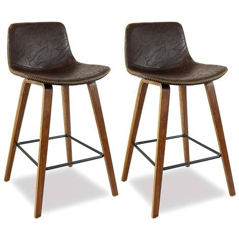 Laurent Bar Stool Set Of 2 Vintage Walnut Bar Stools Breakfast Bar Stools Blue Chairs Living Room