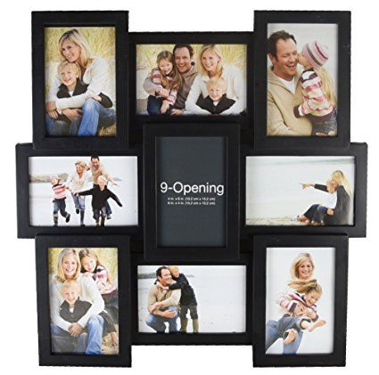 Melannco 9 Opening Puzzle Collage Picture Frame Black With