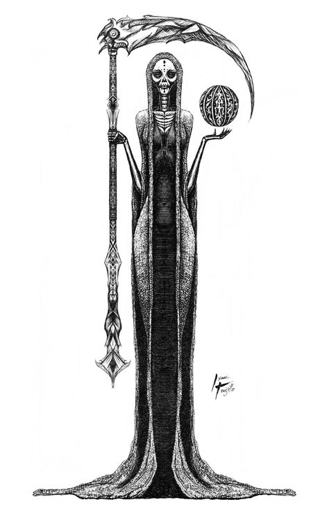 Santa Muerte also known as Our Lady of the Holy Death, is a female folk saint. This Illustration was created by Isaac Trujillo. Creepy Drawings, Dark Drawings, Art Drawings Sketches, Tattoo Drawings, Death Tattoo, Tattoo Bein, La Santa Muerte Tattoo, Grim Reaper Tattoo, Dark Art Tattoo