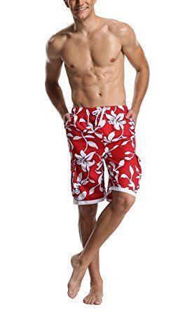 94dd794e7d DESTTY Men's Quick Dry Beach Board Shorts Printed Swim Trunks Floral ...