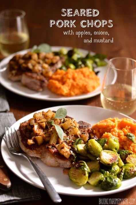 seared pork chops with apples, onions, & mustard | Brooklyn Homemaker