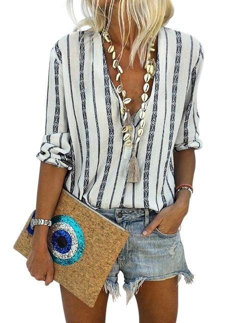 Women/'s V Neck Stripes Roll up Long Sleeve Button Down Blouses Tops Casual Shirt