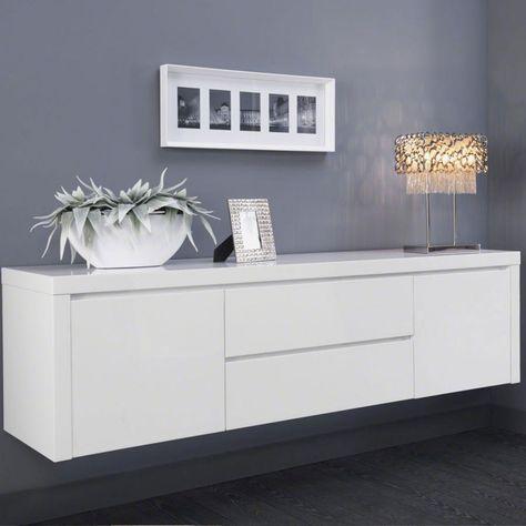 Buffet Bahut Suspendu Blanc Laque Design Tyler Meuble