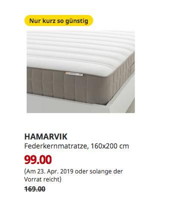 Ikea Augsburg Hamarvik Federkernmatratze Fest 160x200 Cm