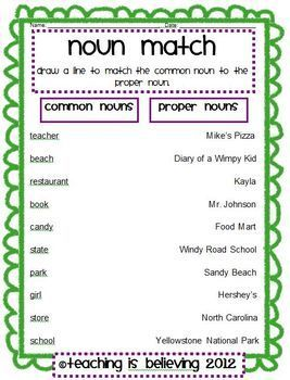 Freebie Common And Proper Nouns Matching Worksheet School Stuff Nouns Worksheet With Pictures Easy Common And Proper Nouns Matching Worksheet Free On Tpt