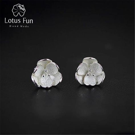 Lotus Fun Genuine 925 Sterling Silver Natural Original Handmade Fine Jewelry  3D Flower Fashion Stud Earrings for Women Brincos. Yesterday s price  US   19.80 ... 1a64a476d35f