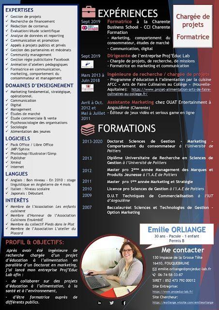 Emilie Orliange Proj Educ Lab Emilie Orliange Cv 2020 In 2020 Lab