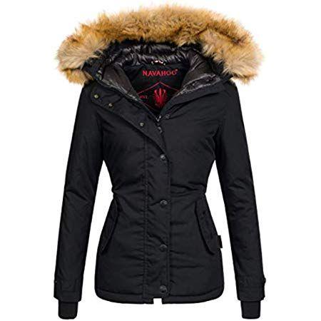 Navahoo Diamond warme Damen Winter Jacke lang mit Teddyfell