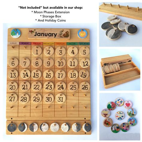 Home Calendar -- Wooden Perpetual Calendar -- Weather Chart