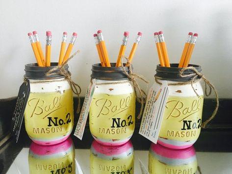 Teacher Mason Jar - Teacher Gift - Teacher Appreciation - Pencil Holder - Back to School Teacher Gif