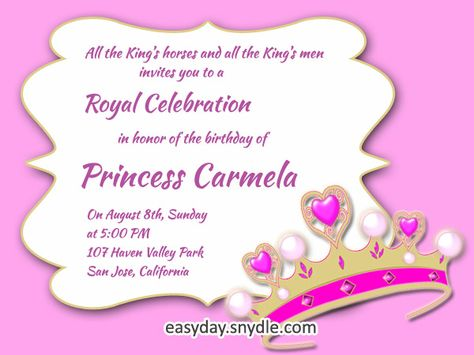Princess Birthday Invitation Wording Samples And Ideas